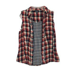 Bebe Red Cream Black Plaid Ripped Destroyed Shirt